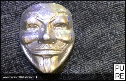 Hand Poured Silver Anonymous Mask