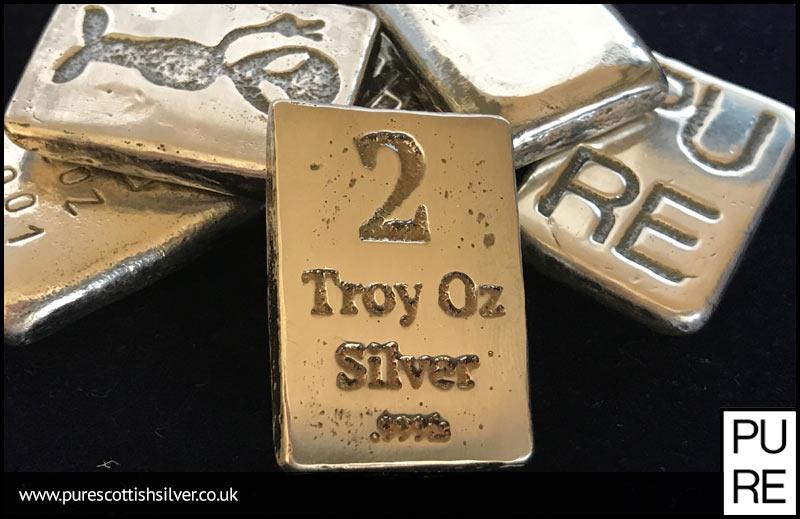 2 Troy Oz Silver Bar Pure Scottish Silver