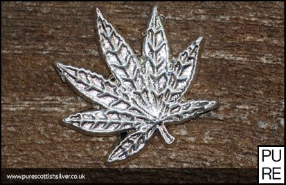 Silver hand poured cannabis leaf
