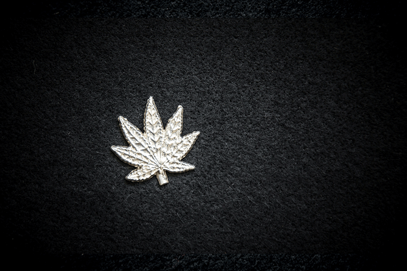 Hand Poured Silver Cannabis Leaf